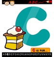 letter c with cake cartoon vector image