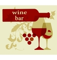 Wine bottle serving a glass silhouettes vector image vector image
