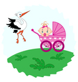 Baby girl in a pram and stork beside her vector image