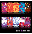 Set of ten floral cards vector image