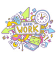 colorful of office objects with text on whit vector image