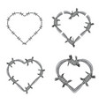 frame heart barbed wire set vector image