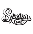lettering springtime come glossy black white text vector image
