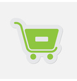 simple green icon - shopping cart minus vector image