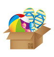 colorful silhouette with box with beach vector image