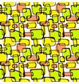 seamless pop art 1960s ink drawn patternhand vector image