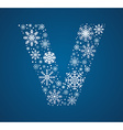 Letter V font frosty snowflakes vector image