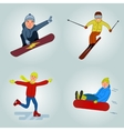 Winter sport cartoon characters winter sport vector image
