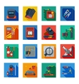 Flat Welding Icons In Colorful Squares vector image