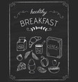 breakfast doodles on the black board vector image