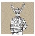 Outline deer in Jacquard hat sweaterWinter vector image
