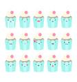 set of cupcake emoji vector image