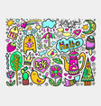 set of doodle sketch drawing nice elements in vector image