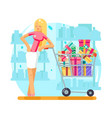 shop cart shopping woman purchase gift flat design vector image