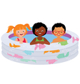 Three children of friends in an inflatable pool vector image