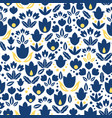 dark blue navy and yellow tulips flowers vector image vector image