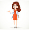 Beautiful cartoon female doctor with brunette hair vector image