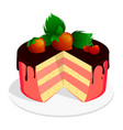 cake with chocolate cherry and strawberries tasty vector image