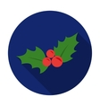 Christmas holly berries icon in flat style vector image