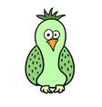 cute cartoon green bird parrot vector image