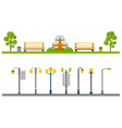 urban outdoor decor elements parks and alleys vector image