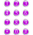 Numbers - violet button vector image