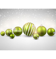 Winter background with green christmas balls vector image