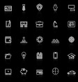 Businessman item line icons with reflect on black vector image