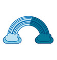 blue silhouette of rainbow between two clouds vector image