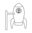business man inside rocket starup work vector image