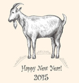 Goat hand-drawing New Year 2015 vector image