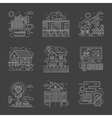 Security control white line detailed icons vector image