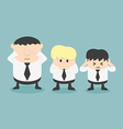 Three businessmen See no evil hear no evil speak n vector image