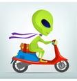 Cartoon Alien Scooter vector image vector image