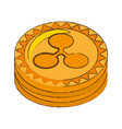 Ripple coin cryptocurrency stack icon vector image
