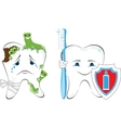 Sick and healthy tooth vector image vector image