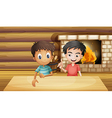 Two friends inside the house with a fireplace vector image vector image