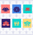 lotus icon of six types isolated sign symbol vector image