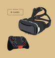 virtual reality headset glasses realistic sketch vector image