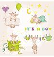 Baby Boy Giraffe Set - Baby Shower or Arrival Card vector image