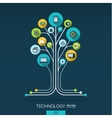 Abstract technology background Growth tree vector image