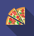 Flat design pizza icon with long shadowFlat design vector image