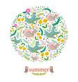 floral card design flowersleaf and birds doodle vector image