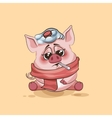 isolated Emoji character cartoon Pig sick with vector image