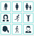 person icons set collection of work man jogging vector image