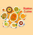 Russian cuisine delicious lunch icon design vector image