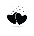 two hearts icon in black vector image