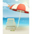 Beach landcape with chair and umbrella vector image
