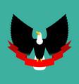 eagle and red ribbon big black bird emblem vector image