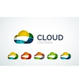 Cloud logo design made of color pieces vector image vector image